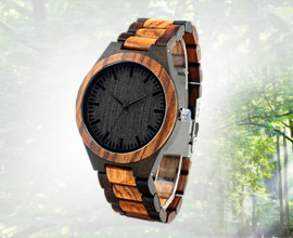 Ebony Zebrawood Wooden Watch